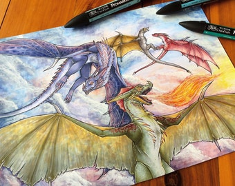 Dragon print, post, collectible fantasy drawing