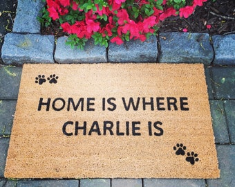 Personalized dog door mat, Custom Doormat, Home is where, Door Mats with Sayings, Dog Lover Doormat, Funny Doormat, Animal Paws, Welcome mat