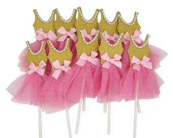 Pink Gold Ballerina Tutus Cake Topper for Girls Princess Birthday Decorations  Pack of 10