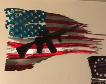 """Tattered battle worn flag painted w/AR 15 measuring 30"""""""