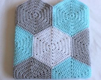Crochet hexagon blanket - baby shower gift, lap blanket - blue, silver/grey, white
