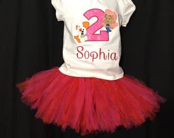 Bubble Guppies Shirt Tutu Set, Bubble Guppies Birthday Shirt, Molly Shirt and Tutu, 2nd Birthday Shirt For Girls, Bubble Puppy Birthday Shir