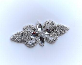 Sparkly Silver Rhinestone and Beaded Jewel Vintage Applique