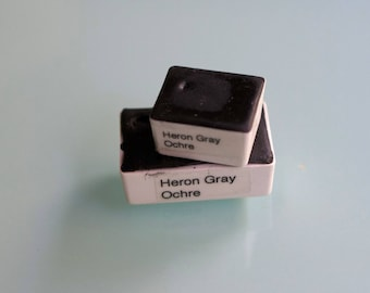 Handmade Watercolor paint Heron Gray Ochre artist paint HALF and WHOLE pans - Non toxic