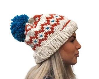 Knit fair isle hat, pom pom hat Hand Knit Beanie, Cream- Orange -turquoise beanie, chunky woman hat, wool hat, winter accessory, warm hat