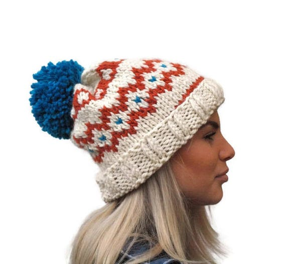 Knit fair isle hat pom pom hat Hand Knit Beanie Cream
