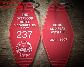 On Sale! Shining inspired OVERLOOK HOTEL Room 237 KEYCHAIN (white lettering)