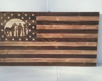 Wild Wild West, Cowboy, cowgirl, horse, wood flag, 19x35 inches
