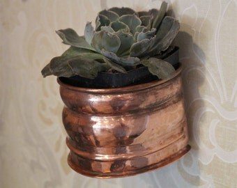2 Copper Herb Planters Wall Pocket ~ Two Sizes Pots ~ Herbs/ Succulents/ Kitchen