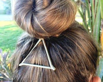 Gold triangle hair clip, triangle clip, girls hair clip, bridesmaid gift, gifts for her, hair clip, birthday party favor, gold hair clip