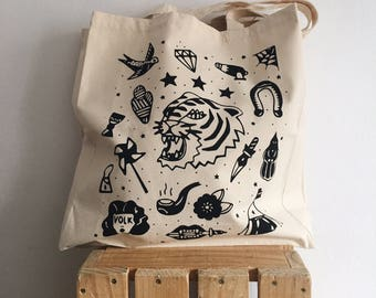 """Circus"" Tote Bag / tote crafted printing / Boobie Power / canvas totebag"