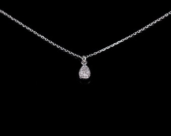 Cubic zirconia Necklace, Double-sided pendant Necklace, dainty silver necklace, Silver Dot Necklace, Delicate, Dainty Droplet shape Necklace
