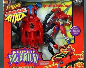 Spider-Man Sneak Attack Super Bug Busters Spider-Man Spider Rider MIB Toy Biz