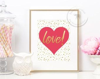 Love Print - Love Sign - Wedding Print -Wedding Decor - Printable Art - Instant Download - Wedding Sign - Heart Sign - Heart Print