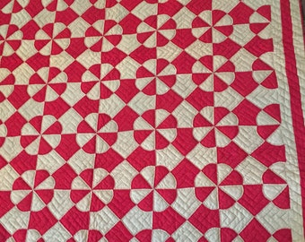 Vintage red and tan quilt