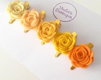 Ombre Sunshine Flower Clip, Mini Clip 5 Set, Yellow Flower Clips, Flower girl set, Boho Hair Clip, Fringe Clip, Side Of Head Flower Clip