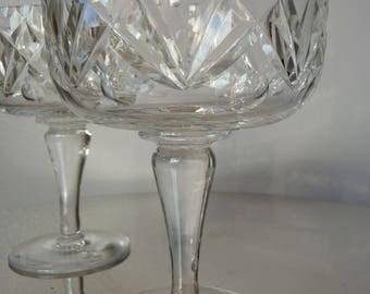 Pair Rare Vintage Signed Edinburgh E&L Crystal Glasses Dessert Bon Bon Sherbet Dishes c1950s