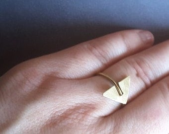 Gold Triangle Ring, Simple Ring, Gold Geometric Ring,  Gold Ring,Gold Minimalistic Ring, Minimalist Jewelry, Gold plated Ring,Dainty Ring