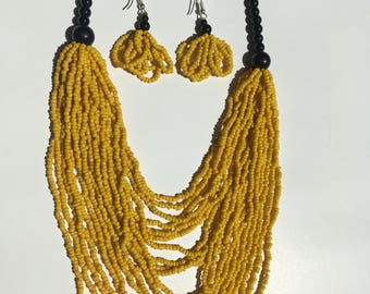Multi-stranded Hand-beaded African necklace and earrings - YELLOW