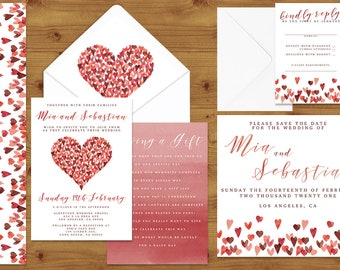 VALENTINE'S COLLECTION Watercolour Heart Wedding Invitations Stationery Set - Printed or Digital Download - Wedding Printable