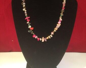 Vintage Natural Uncut Gemstone Necklace