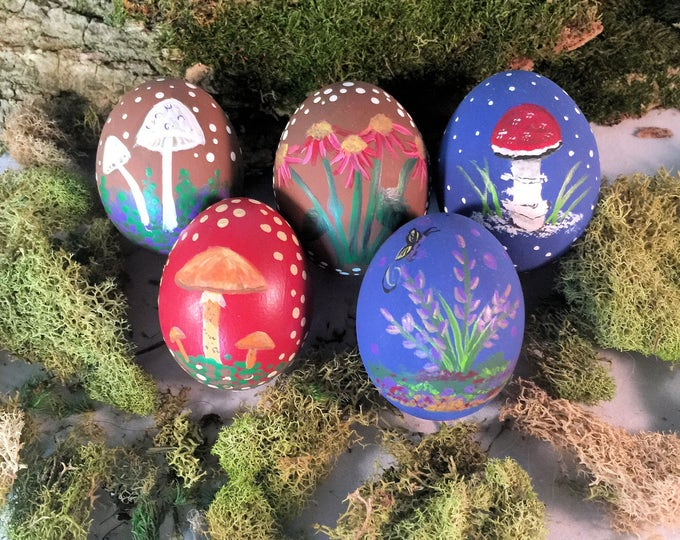Featured listing image: Handpainted Decorated Egg,Handpainted Ostara Egg Decor,Real Painted Easter Egg,Painted Mushrooms Nature Spring Decor,Decorative Easter Egg