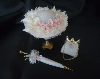 Gorgeous ladies hat, purse & parasol 1/12th scale.