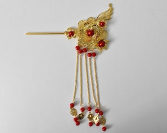 Red + Gold Chinese Wedding Bridal Hair Pin/Hair Piece/Hair Accessory - Style 2