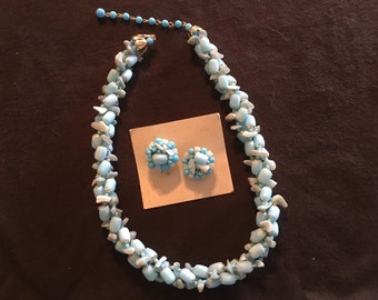 Vintage Japan Beaded Necklace Matching Earrings Blue Tones