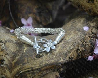 Silver Plated - Viking Weave Chain - Flower Shaped Toggle Clasp - Bracelet