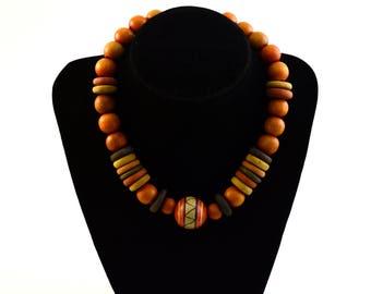 Orange wooden bead necklace