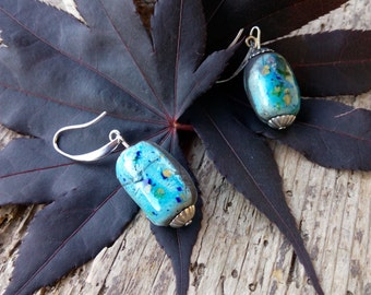 Raku pottery earrings