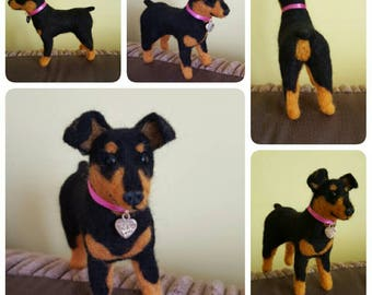 Needle felted miniature pinscher