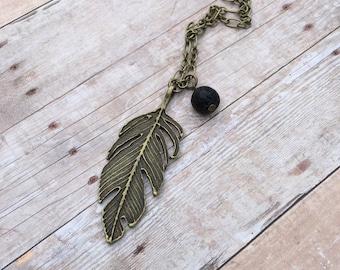 Feather Deathly Hallows Antique Bronze Essential Oil Diffuser Pendant Necklace Lava Stone Necklace long necklace Essential Oil Necklace
