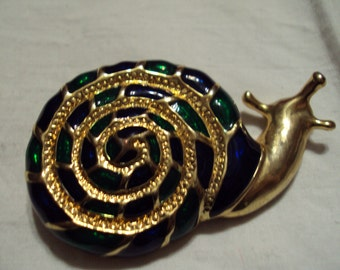 Vintage SNAIL BROOCH Gold Tone with Enamel blues and green 1970's