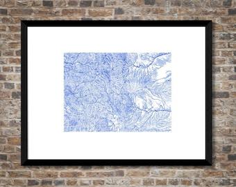 Waterways of Colorado map | High resolution + digital | Colorado poster | Colorado map art | Colorado home decor | Colorado gift idea