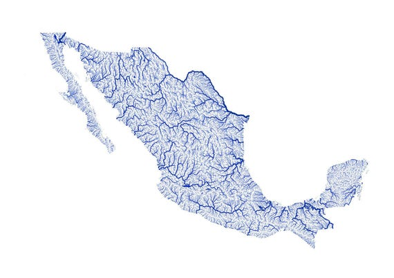 Rivers of Mexico map High resolution digital by EarthArtAustralia – Rivers of Mexico Map