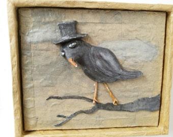 Crow Art Sculpture Painting 3d art whimsical portrait clay blackbird grackle jackdaw rook raven corvus bird tophat