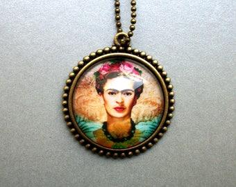 Frida Kahlo Necklace Gift for Girlfriend Birthday Flowers Art Artist