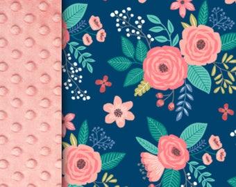 Baby minky blanket flower blanket, coral pink blue teal roses blanket, floral blanket throw blanket, baby shower gift birth gift, mini peony