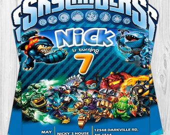 Digital invitation for Skylander's Birthday.