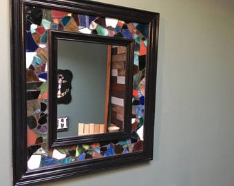 Sea Glass Decorative Accent Mirror - 16 in x 18 in