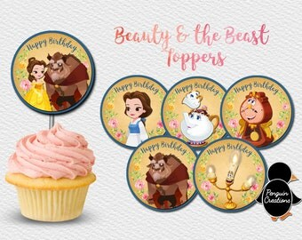 Beauty and the Beast Cupcake Topper. Princess Birthday Party. Party Supplies. Baby Shower. DIGITAL FILE