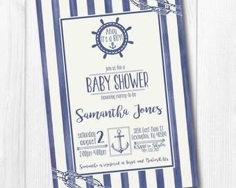 Anchor Baby Shower Invitation, Nautical Baby Shower Invitation, Ahoy It's a Boy, Navy Blue Ocean Theme Birthday Party