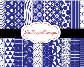 Buy 2 Get 1 Free-20 Digital Papers. Single colours in blue and White (3B no 1) for Personal Use and Small Commercial Use Scrapbooking
