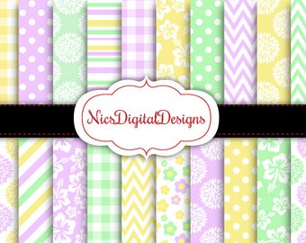 Buy 2 Get 1 Free-20 Digital Papers. Mothers Day Papers in Pretty Colours 2 (2K no 2) for Personal Use and Small Commercial Use Scrapbooking