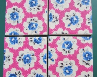 CATH KIDSTON Shabby Chic - Set of Ceramic Coasters - Provence Rose Pink - Fabric - Handmade