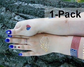 American Flag Tattoos, Patriotic Tattoo USA, Temporary Red, Blue and Gold Transferable Tattoos, Jewel Flash Tattoos, July 4 Tattoo Stickers