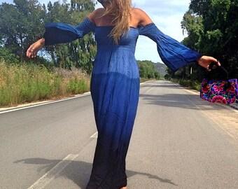 Summer Maxi Dress, Dark Blue Maxi Dress, Tie Dye Maxi Dress, Kimono Sleeve Maxi Dress, Festival Hippie Maxi Dress, Gispy, Ibiza Maxi Dress