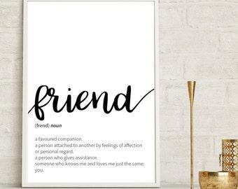 Friend Definition Print Wall Art Prints Quote Print Wall Decor Minimalist Poster Print Gift For Friend Friendship Print Friend Wall Prints